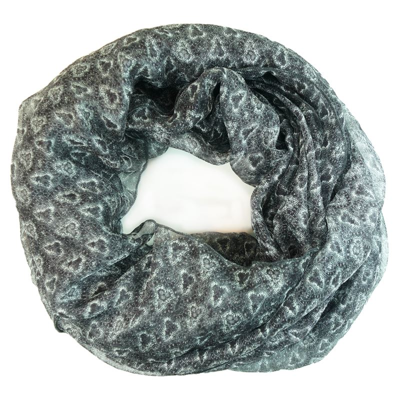 silk gray white infinity scarf