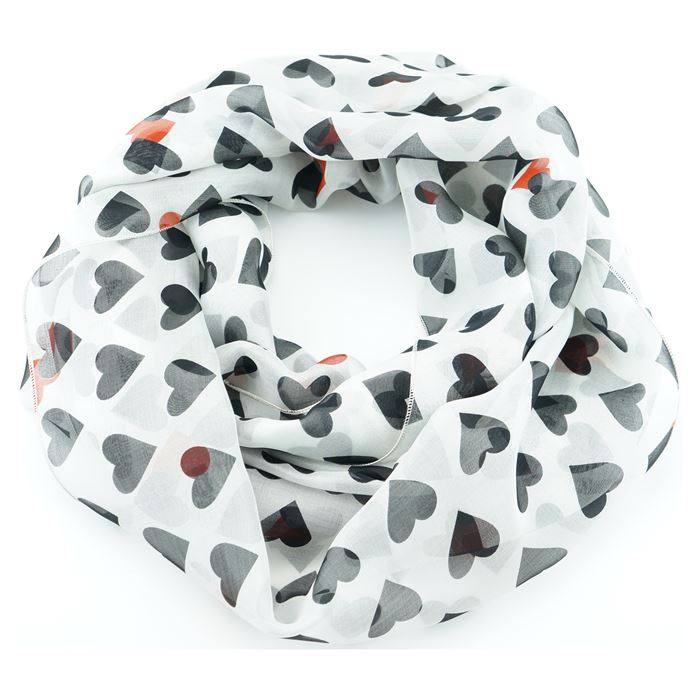 silk red black hearts infinity scarf