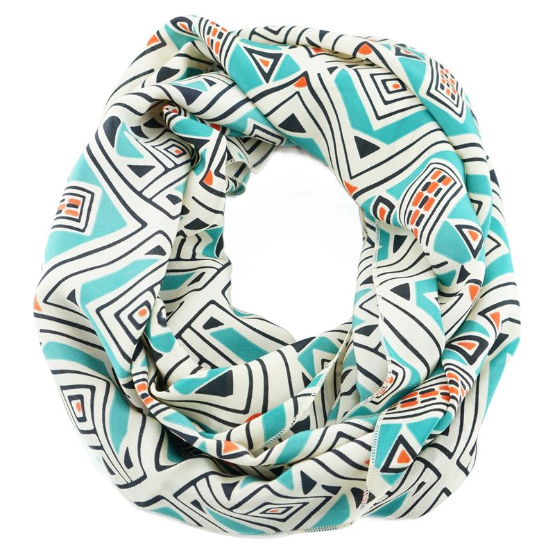 silk teal white pattern infinity scarf